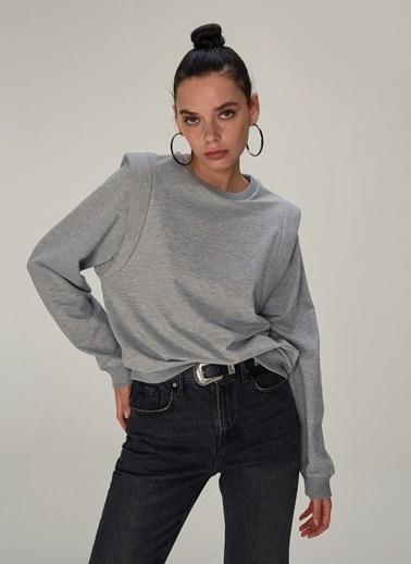 NGSTYLE Omuz Detaylı Sweatshirt Gri